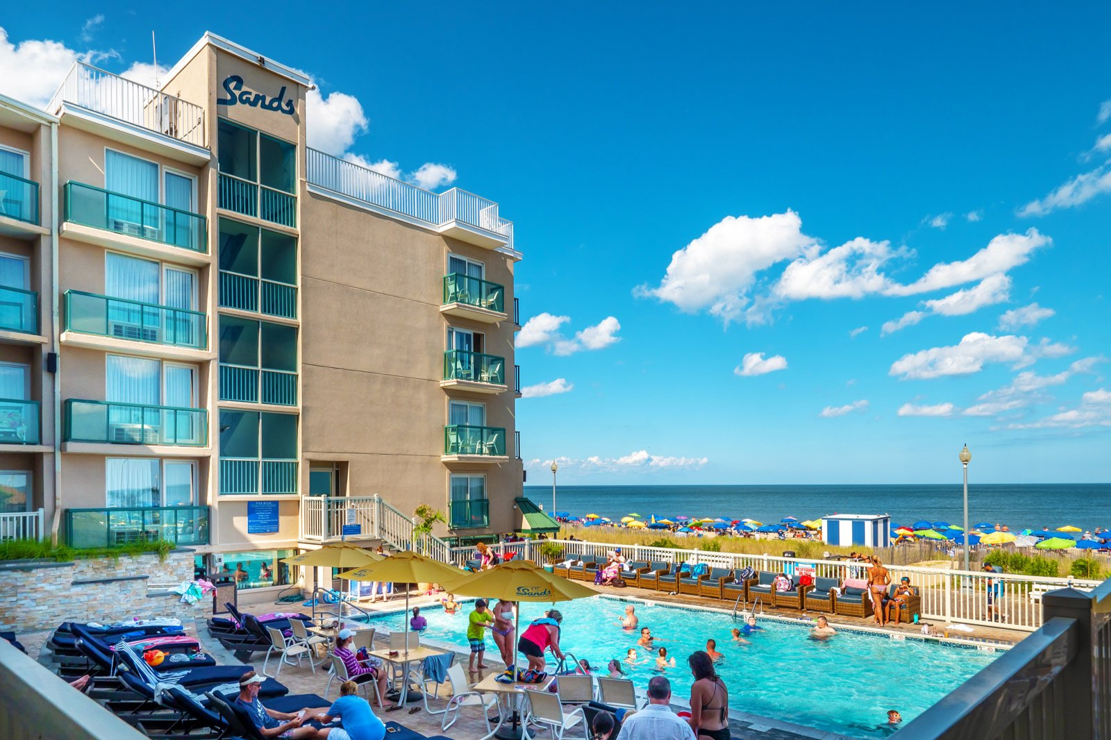 Atlantic Sands Rehoboth   Boardwalk Oceanfront, Outdoor Pool  16 miles  302-227-2511