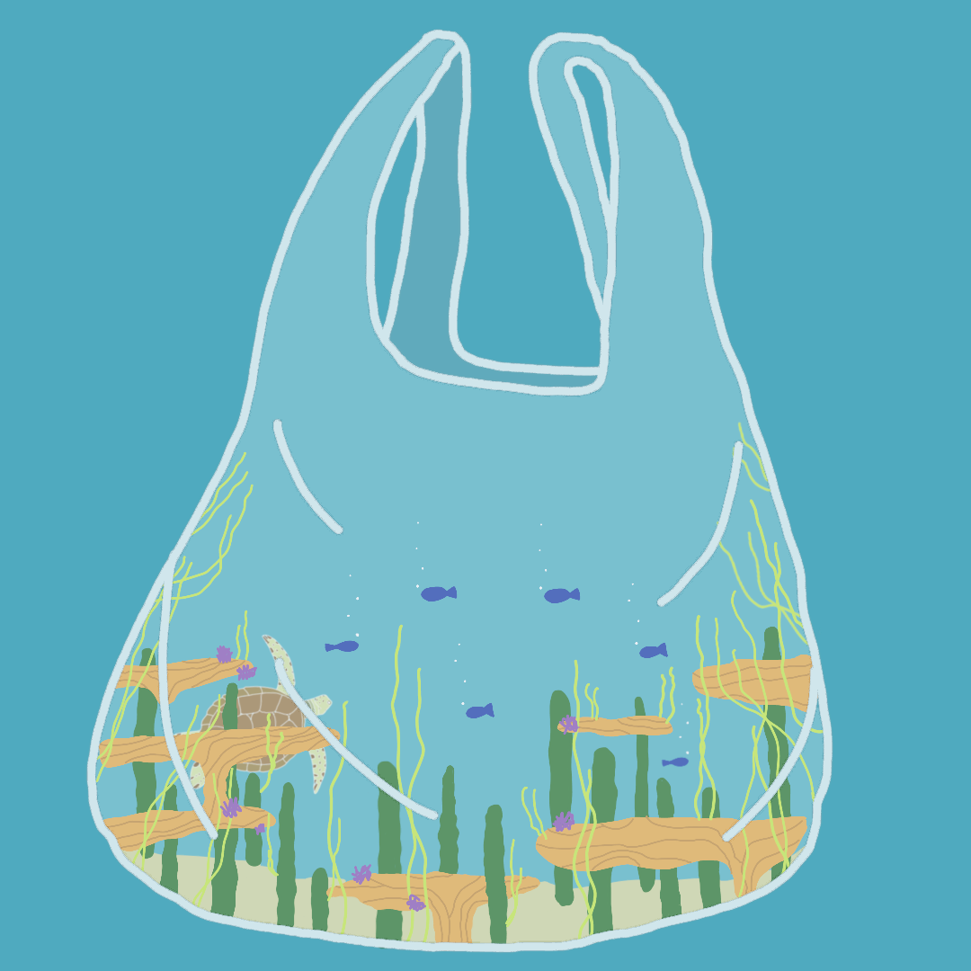 Plastic bag carrying the ocean