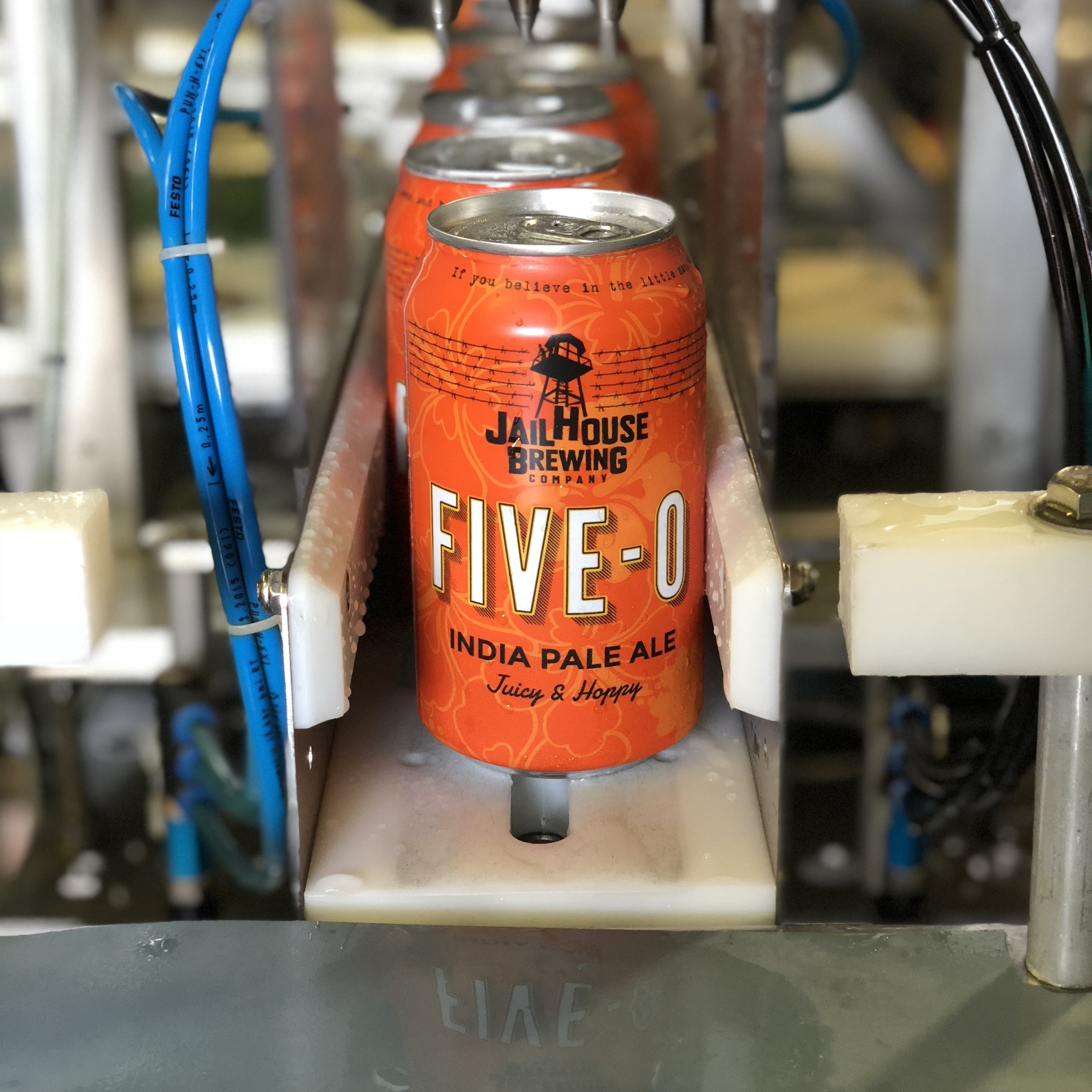 Who doesn't love a good quaffable IPA? We certainly do! So we set out to create one. If you think about Five-O, you think Hawaii Five-O, which says tropical. That was our goal. A quaffable tropical IPA. It took some testing and playing around with hop combinations but we learned some things from previous beers and ultimately applied that knowledge when creating the recipe for this beer. Wafting with juicy, light, and tropical hop aromas, Five-O drinks like a session IPA but doesn't exhibit those hop-water characteristics. Very smooth and refreshing but packed full of flavor and aromas.