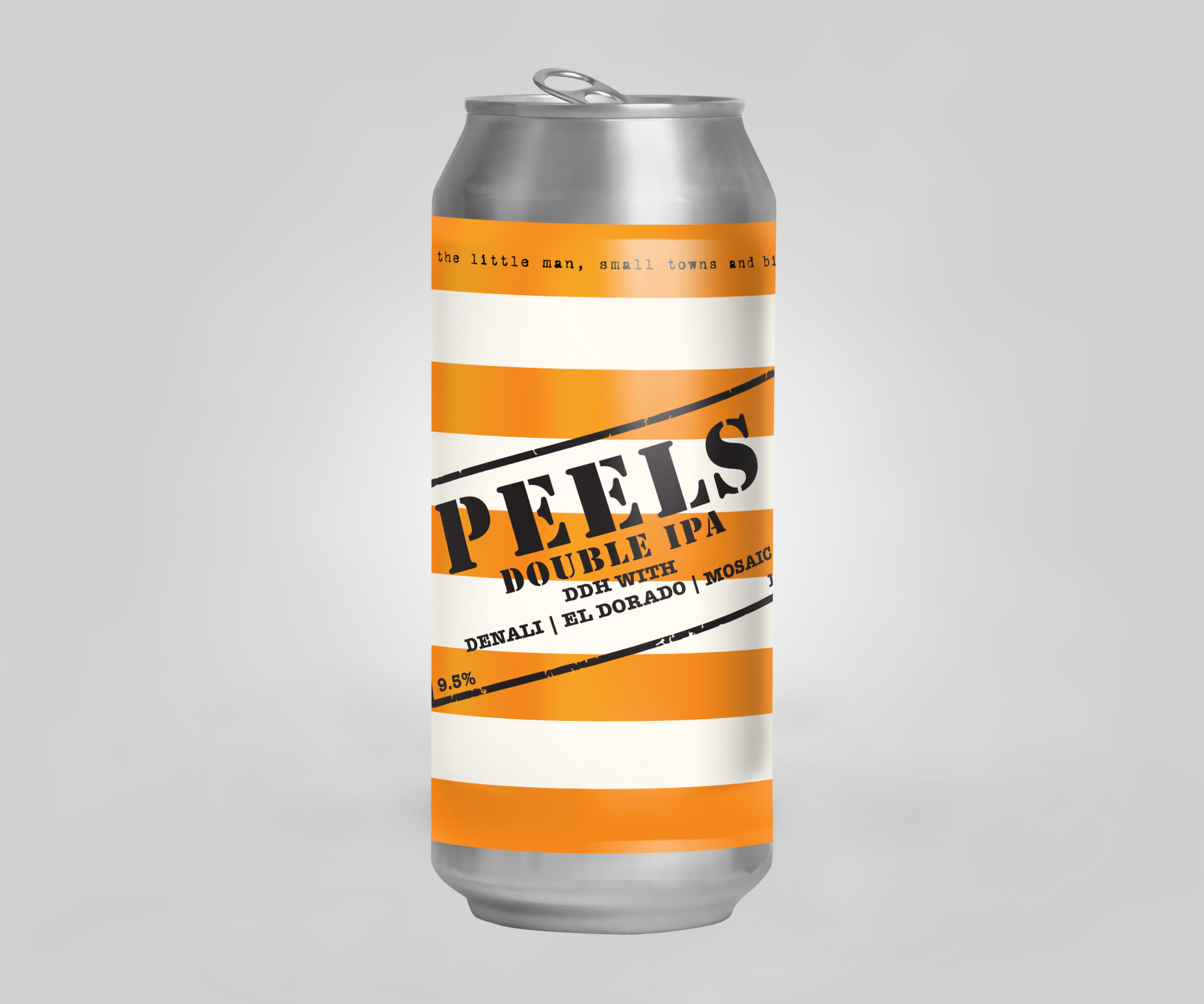 Peels is an over the top DIPA. A soft pillowy grain bill of wheat and oats provide a beautiful base for a massive amount of intensely aromatic hops. Brewed with Mosaic, El Dorado and Denali hops in the kettle and double dry-hopped with 4 lbs per barrel of the same hop varieties. Expect notes of pine, citrus and pineapple.