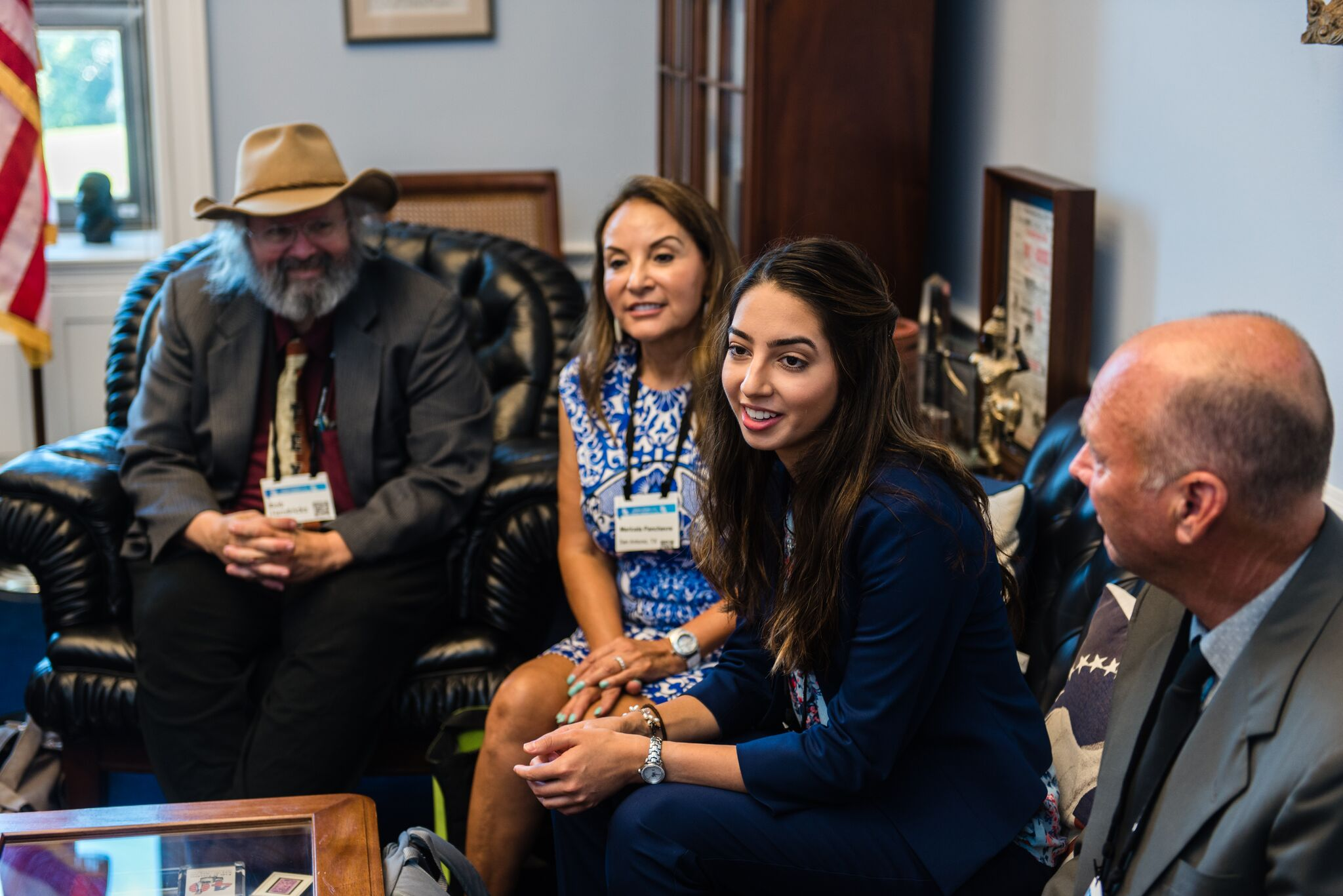Samantha Pancheve and her mom in a lobby meeting with member of Congress.