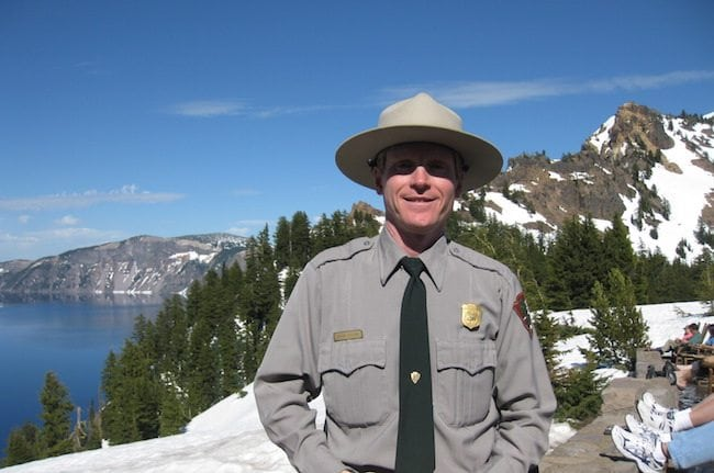 Park ranger turned climate activist, Brian Ettling, at Crater Lake National Park. Click on the picture to read his story.