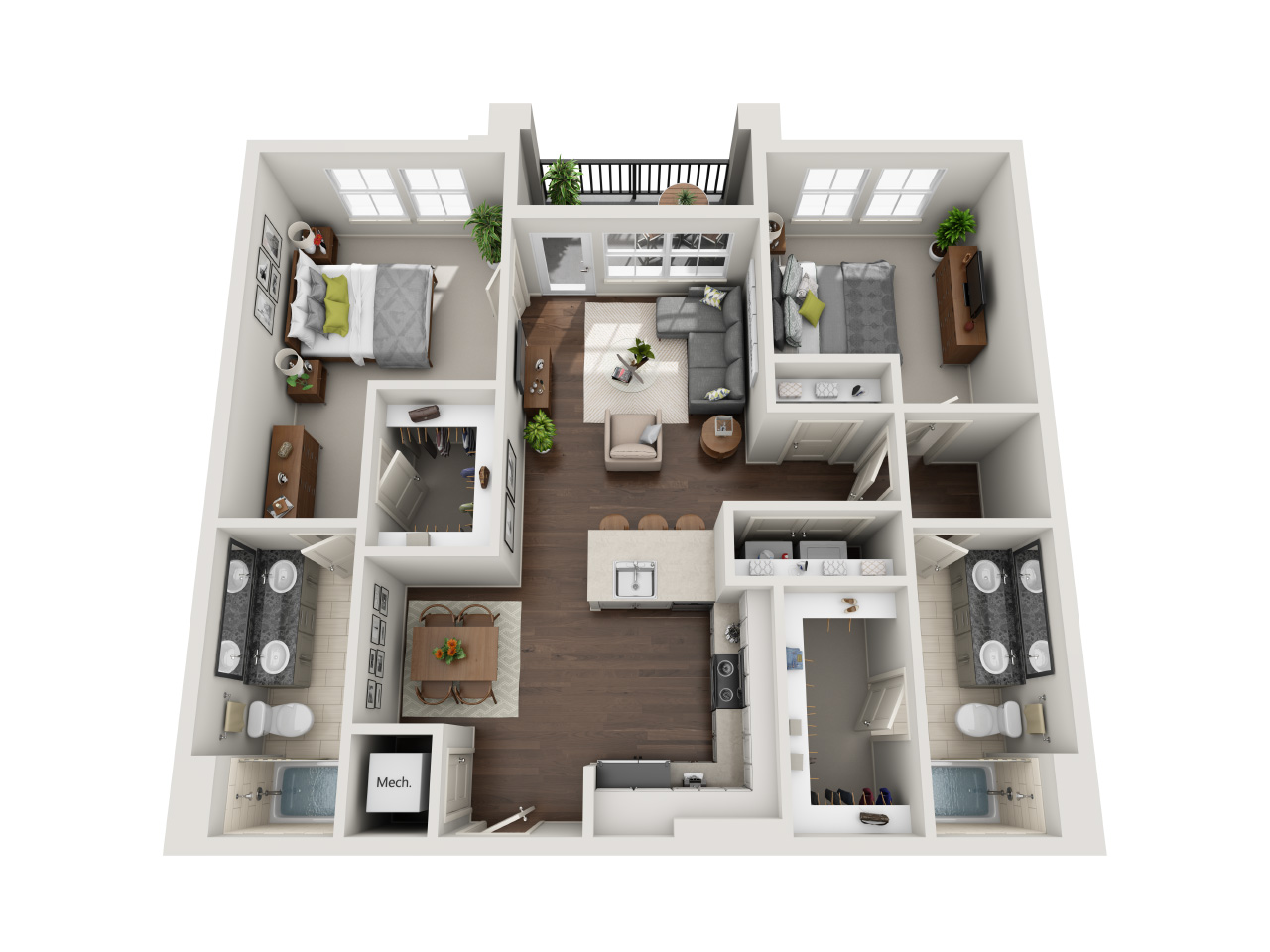 Two bedroom & Two bathrooms