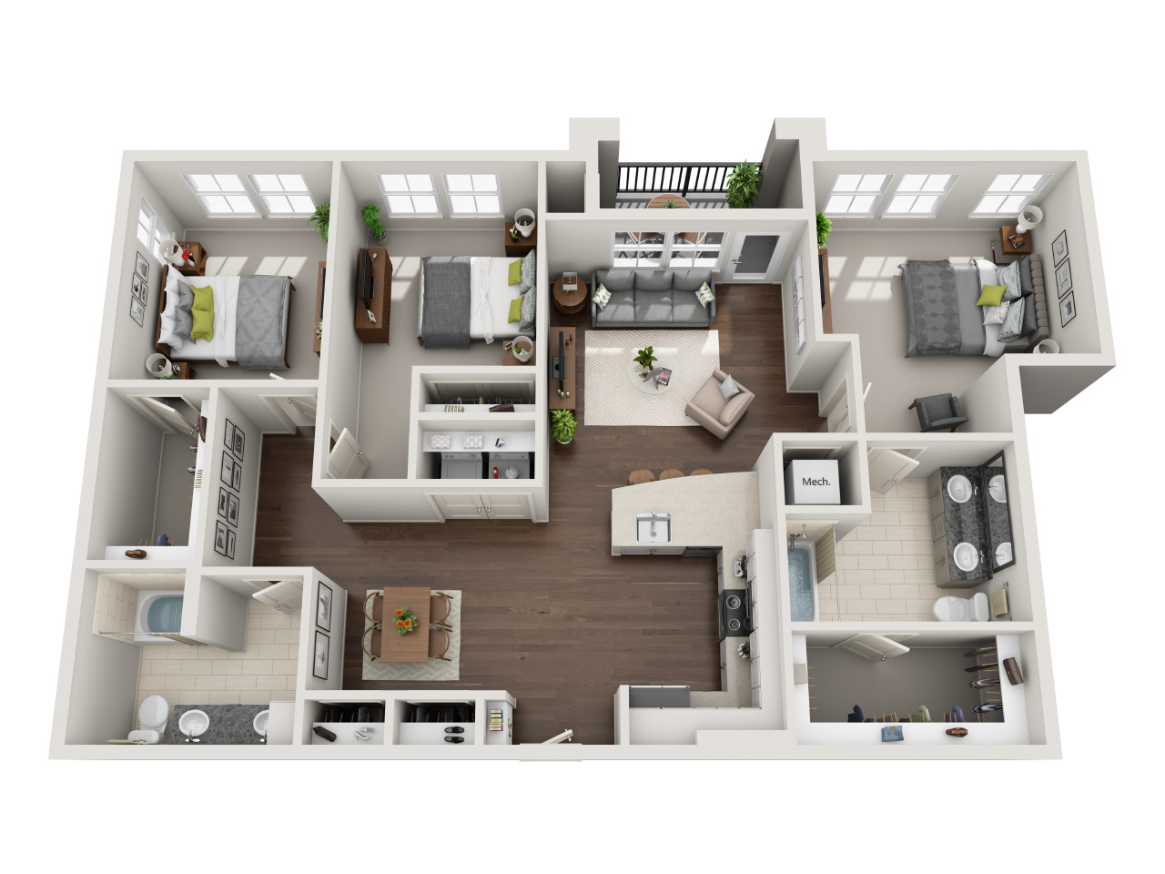 Three bedrooms & Two full bathrooms