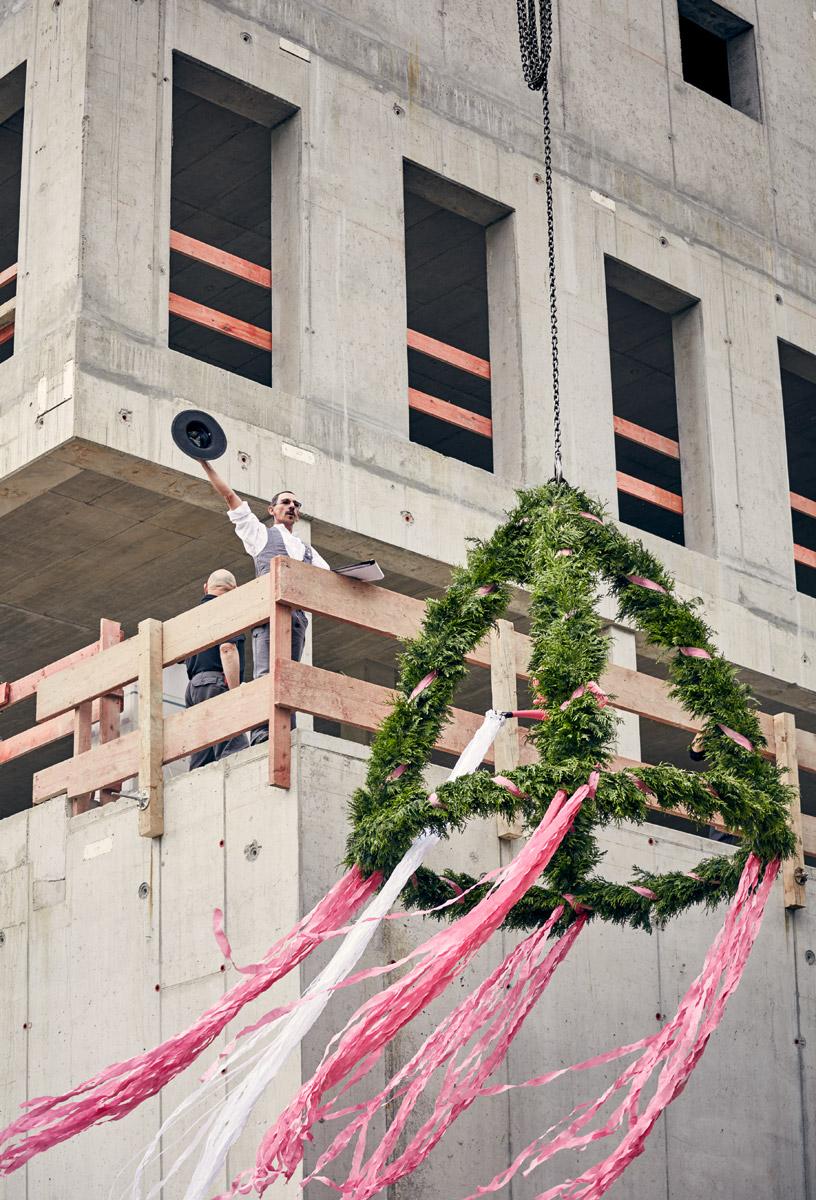 Richtfest, Terrasse des Werkkubus  2016–07–01