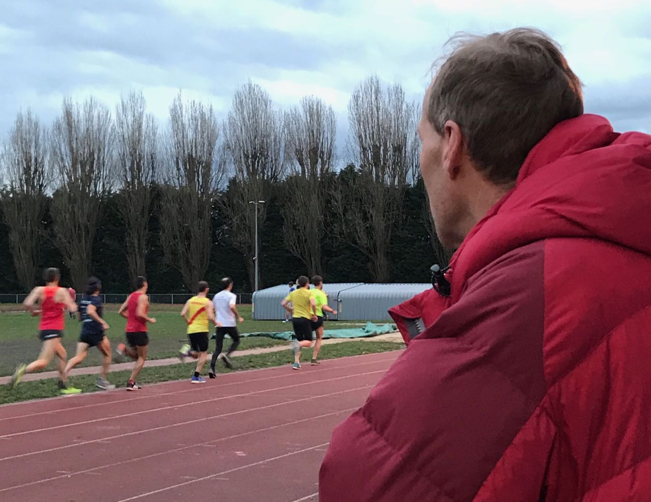 Club Chairman and coach Dave Clarke watches on at midweek training