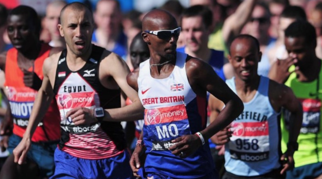 Mo mixes it with the big boys in the 2014 Virgin Money London Marathon (check out the familiar face next to him - our very own Hussein Ahmed!)