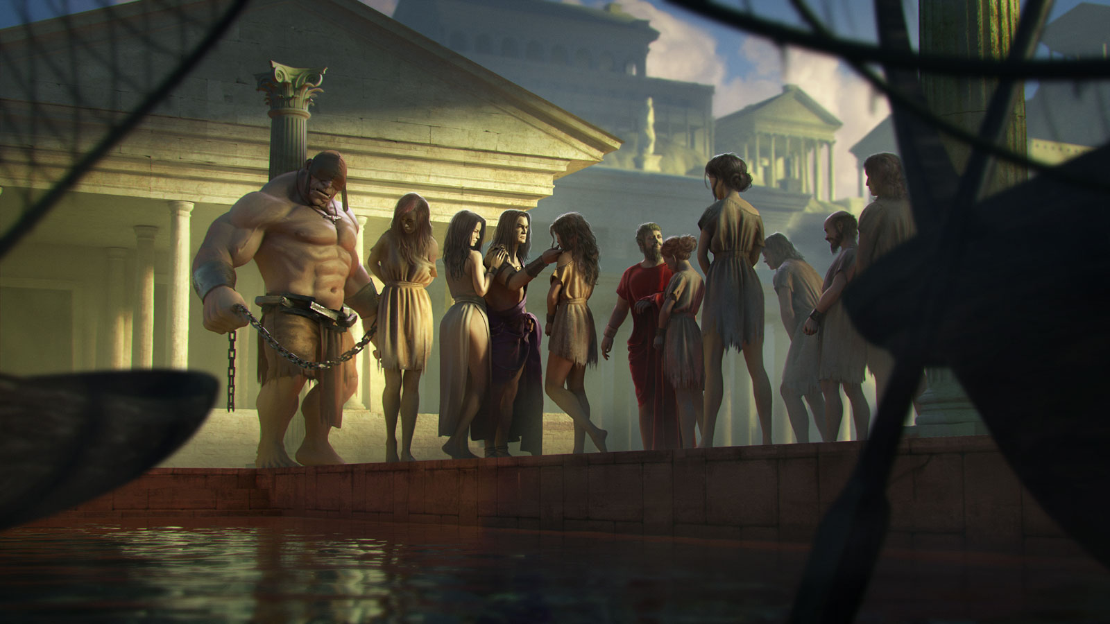 The Slave Docks - The Slaver inspects his new shipments, Korvina at his side, the fearsome Thrall in the background watches his charge, Lazarus' Wife