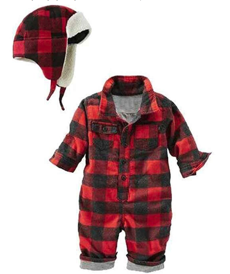 BABY PLAID ROMPER WITH HAT