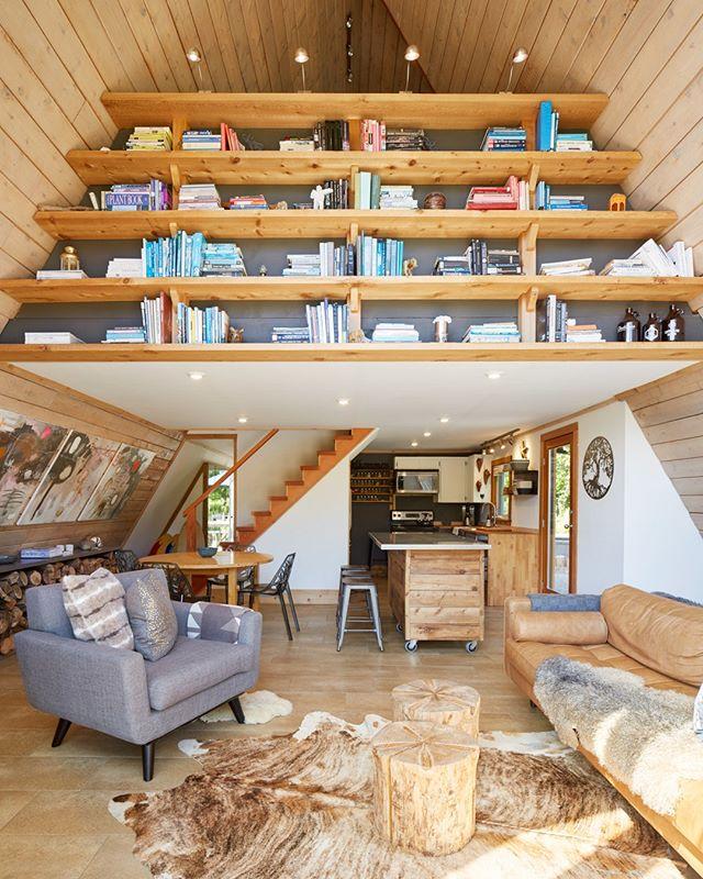 We love this book shelf! #themodernaframe 📷@aframestudio . . . . . #aframestudio #cottage #aframe #modernaframe #modernaframebook #themodernaframebook #architecturalphotography #cabin #chalet #cabinliving #tinyhouse #themodernaframe #modernaframe #modernaframebook #aframe #interiordesign #interiorphotography #residentialdesign #aframedaily #moderncabin
