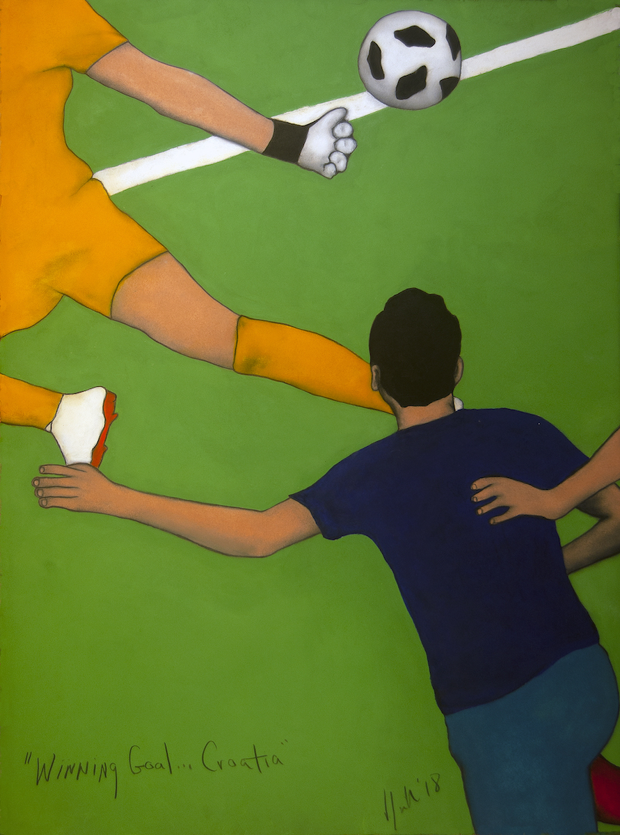 Winning Goal      Oil on Rives Paper   22x30