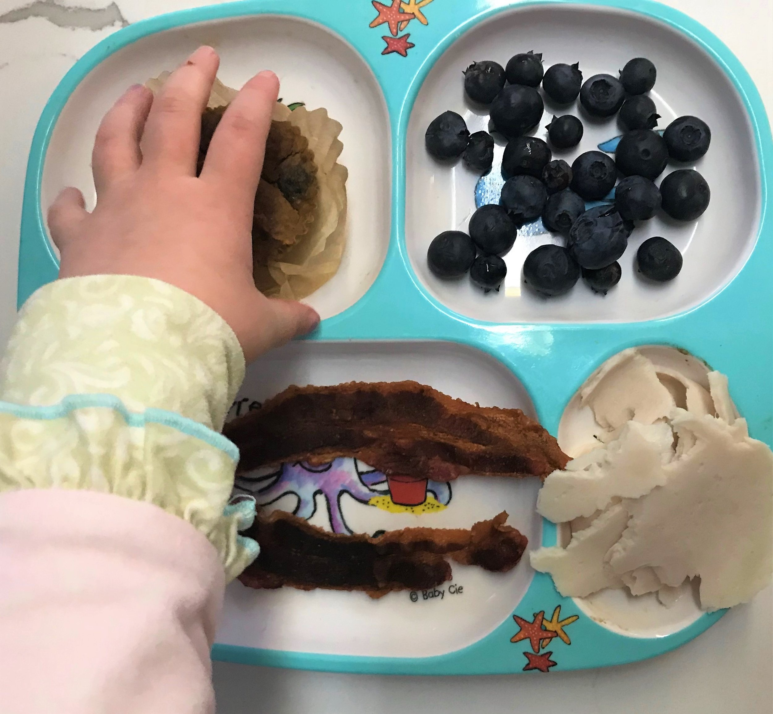 Top left: homemade banana muffin  Top right: blueberries  Bottom left: bacon, duh  Bottom right: Turkey