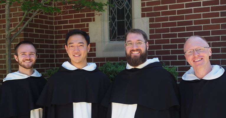From left to right: Rev. Brother Thomas Aquinas Pickett, OP; Rev. Brother Pius Youn, O.P. Rev. Brother Christopher Wetzel, O.P.; Rev. Brother Bradley Thomas Elliott, O.P.