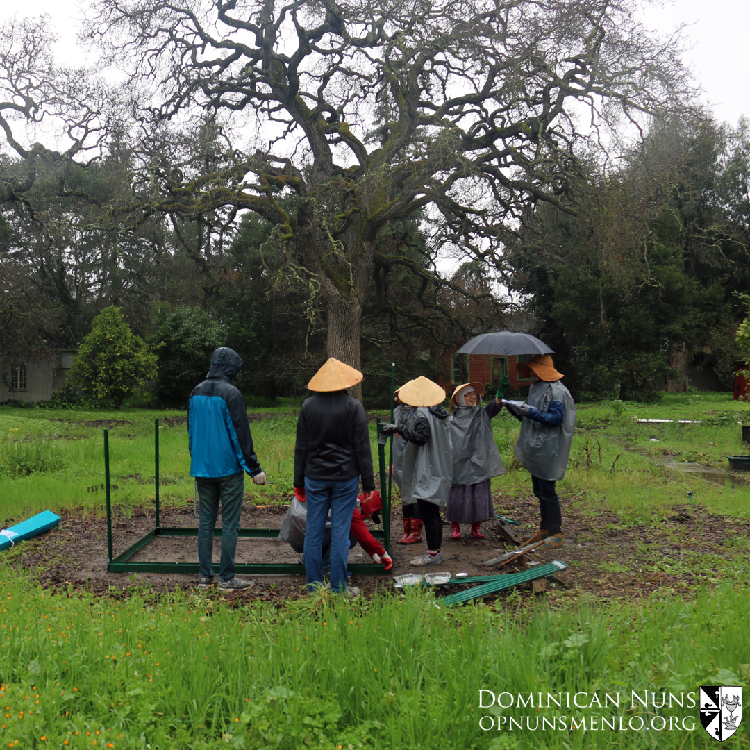The greenhouse team.  Sister is holding the umbrella not so much for our volunteers as for the instruction book!  The rain was causing the pages to stick together and disintegrate when they tried to turn them!
