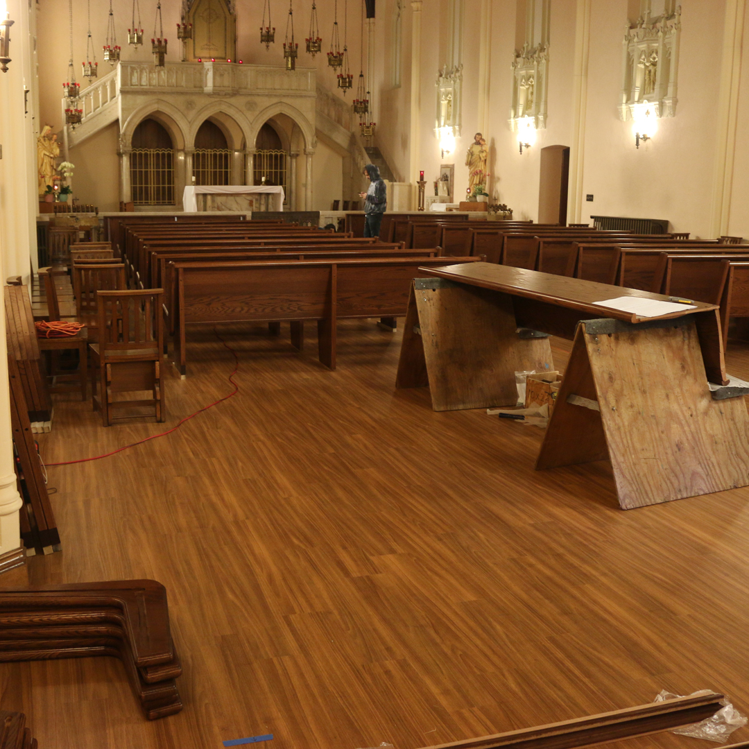 Installation of the new pews!