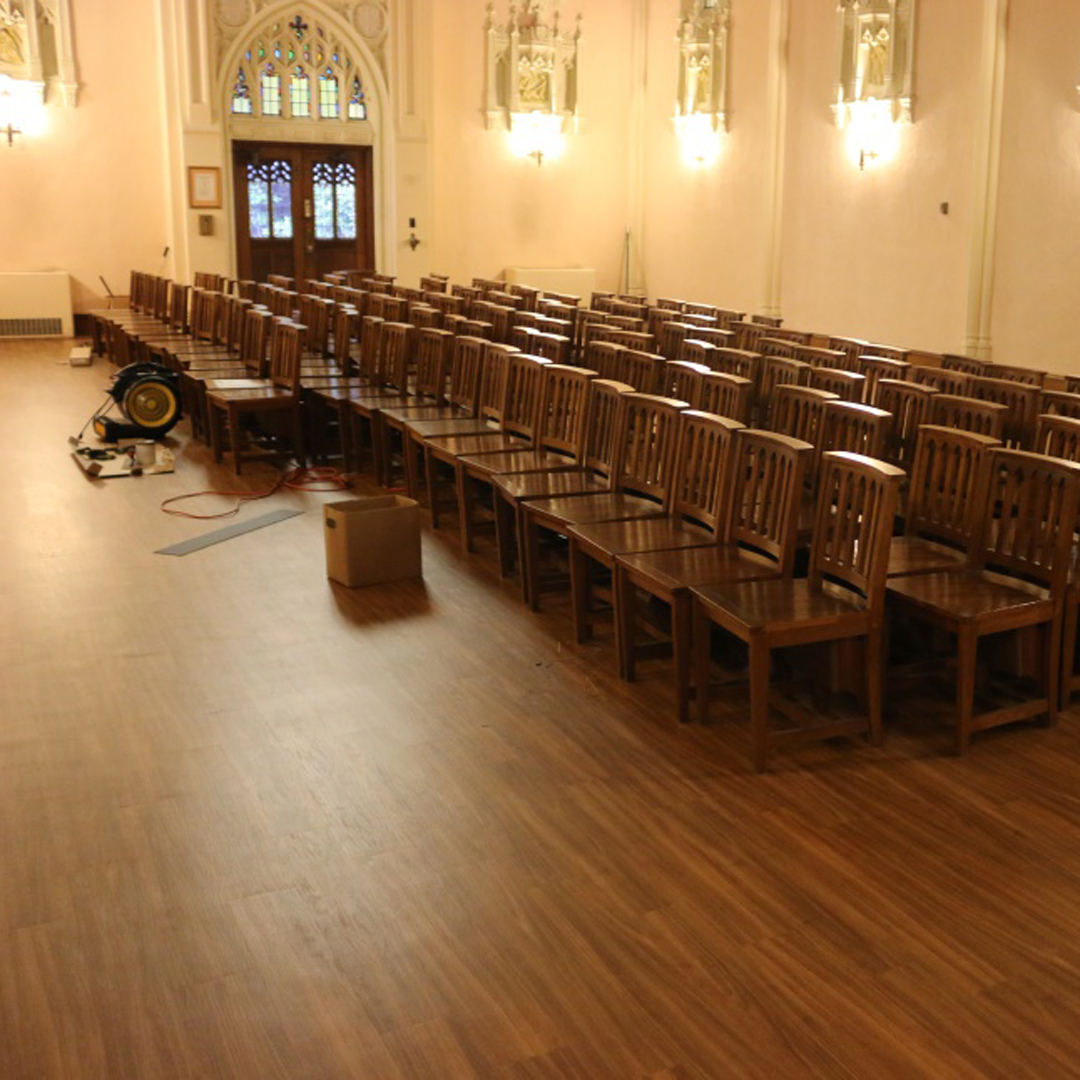 The new floor before the chapel chairs were put back (awaiting replacement by the new pews).
