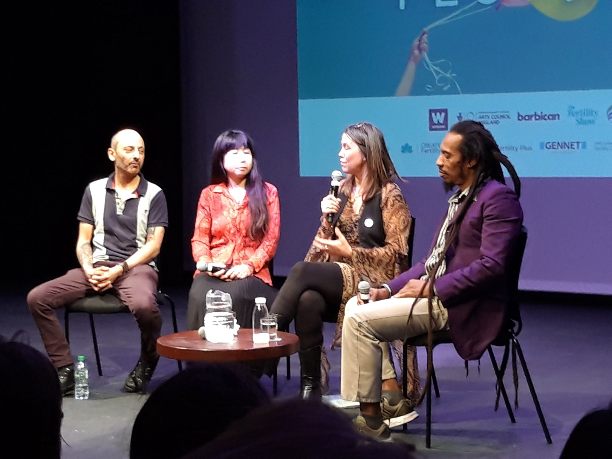 Men Speak discussion panel, left to right: Rod Silvers, Megumi Fieldsend, Jody Day (Gateway Women) and Benjamin Zephaniah.