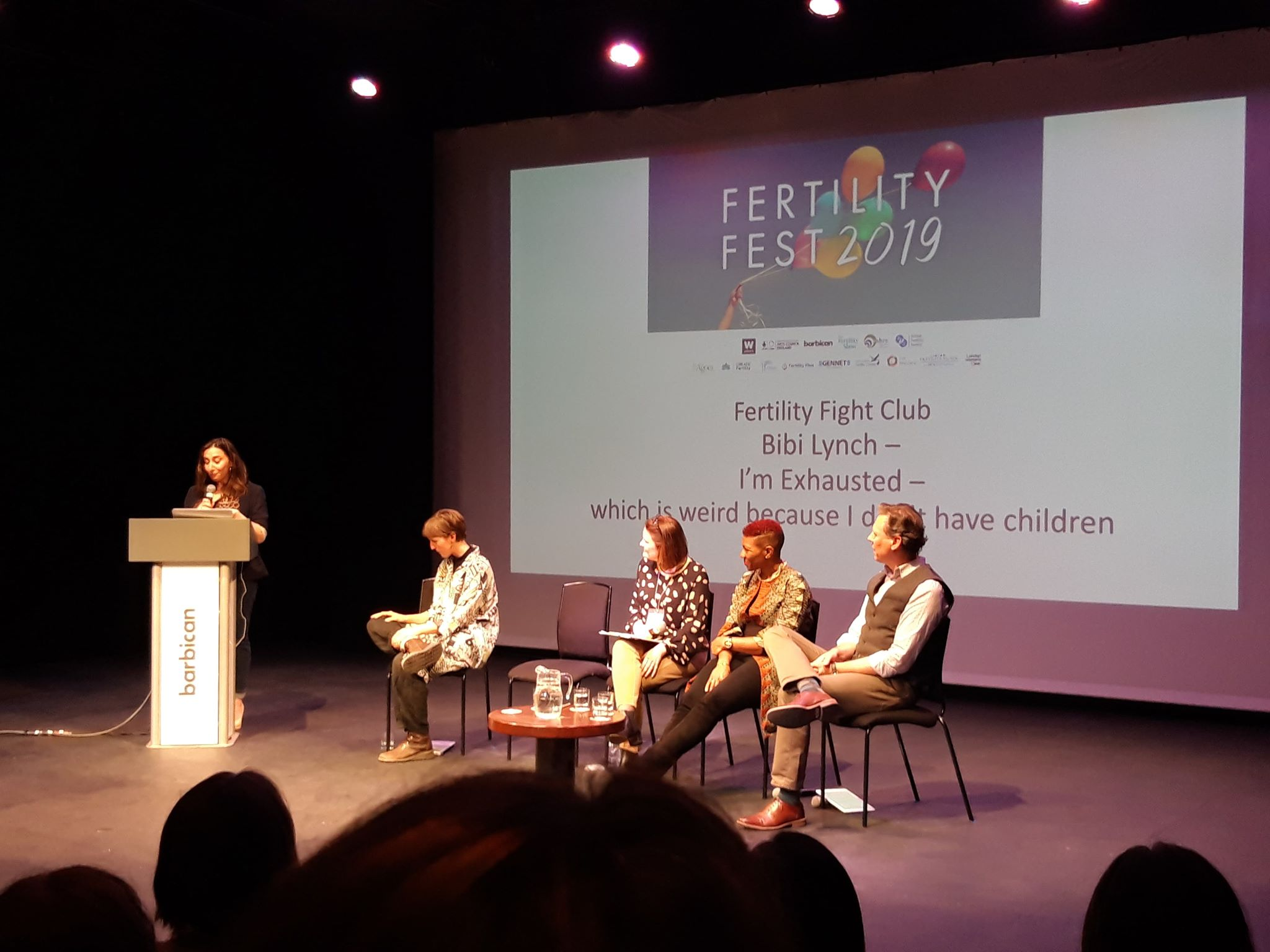 Fertility Fight Club panel, left to right: Bibi Lynch, Blythe Pepino, Heather Wiffin (More to Life), Yvonne John and Sheridan Voysey.
