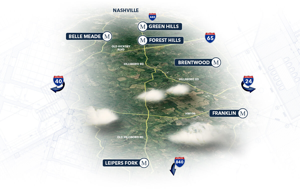 We build along the Hillsboro Corridor - Belle Mead, Green Hills, Forest Hills, Bretwood, Leipers Fork