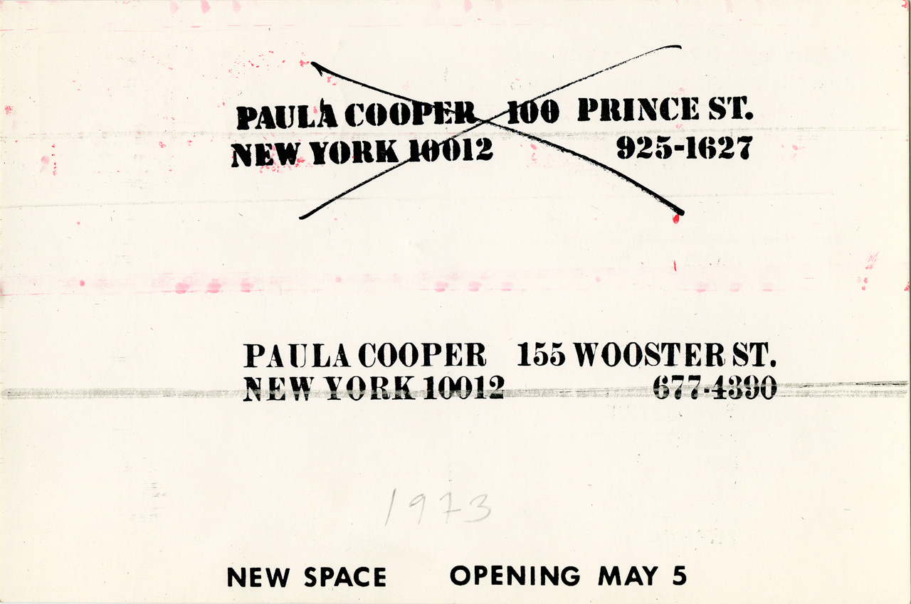Paula Cooper Gallery mailing announcing the gallery's relocation to 155 Wooster Street in 1973.