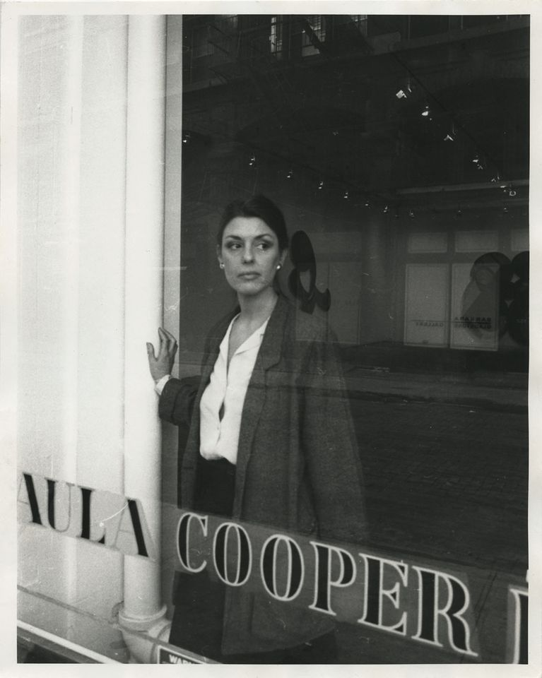 Paula Cooper in her gallery at 155 Wooster Street, New York in 1983. Photo by Richard Leslie Schulman