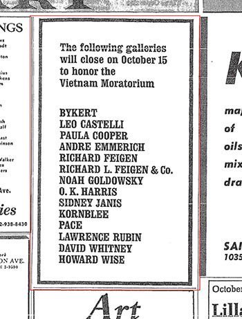 Vietnam Moratorium gallery closing, announcement in The New York Times, October 11, 1969.