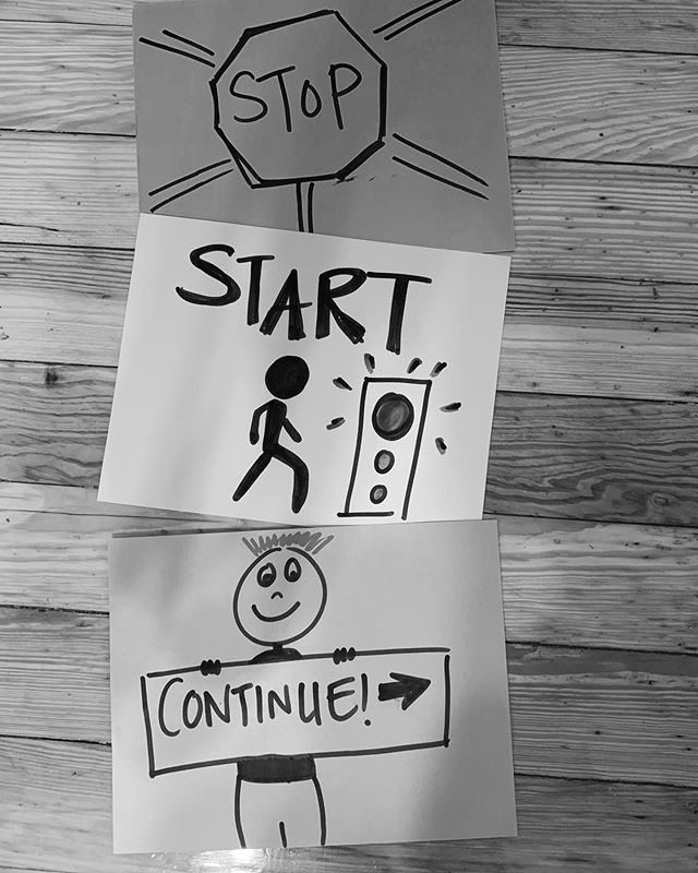 A helpful framework for productive conversations. Stop. Start. Continue. #frameworksforchange #groupfacilitator #groupfacilitation #sketchnoting #professionalfacilitator #professionallearningfacilitator #professionalfacilitation