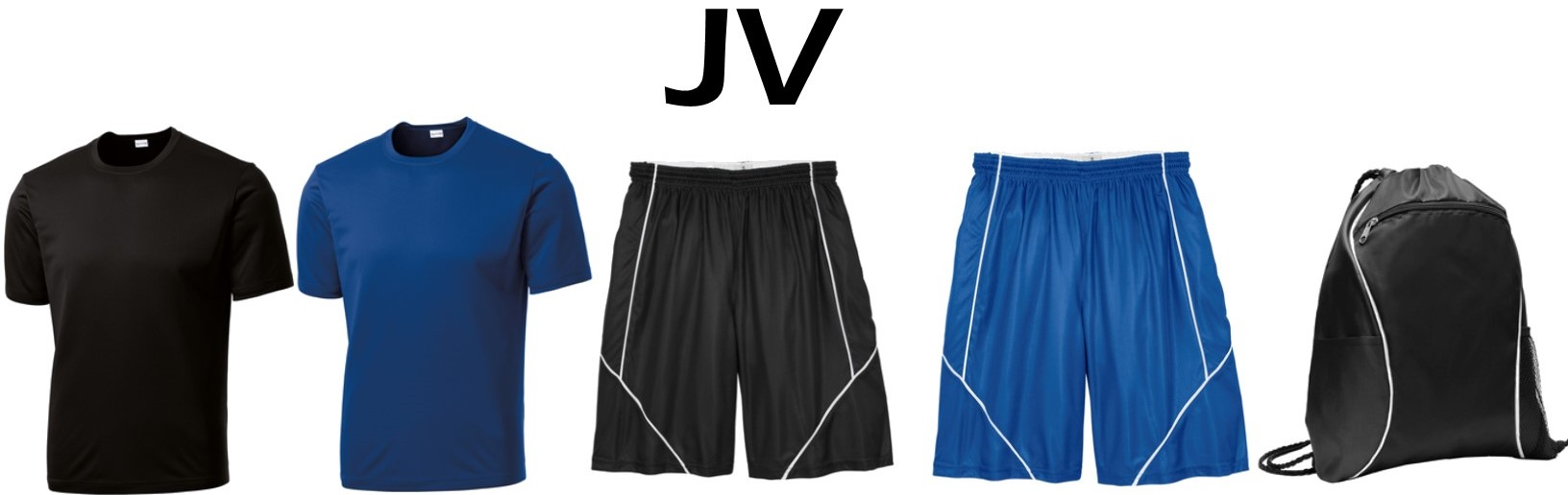 JV Package - $50.00 - 2- ST350 Dri-Fit T-Shirts 1- T565 REVERSIBLE Athletic Shorts 1- BG613 Cinch Pack