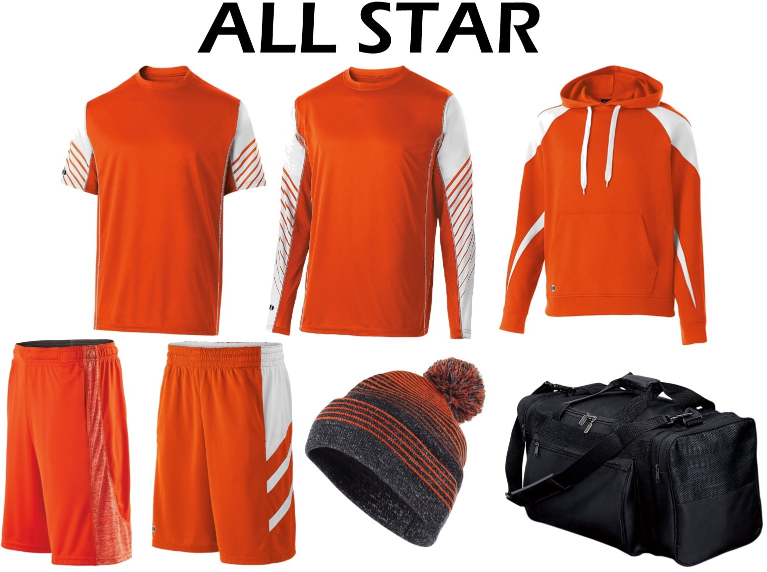 All Star Package - $195.00 - 1- Arc Dir-Fit T-Shirt1- Arc Dri-Fit Long Sleeve T-Shirt1- Prospect Hoodie1- Electron Dry Excel Shorts1- Helium Micro Mesh Shorts1- Constant Beanie1- Practice Duffel Bag