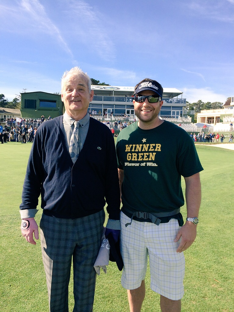 Bill Murray and Winner Green Founder on the 18th green at Pebble Beach during the 98th ProAm.