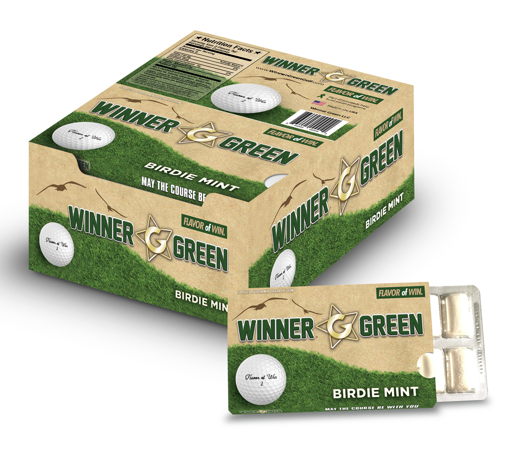Winner Green Golf Gum
