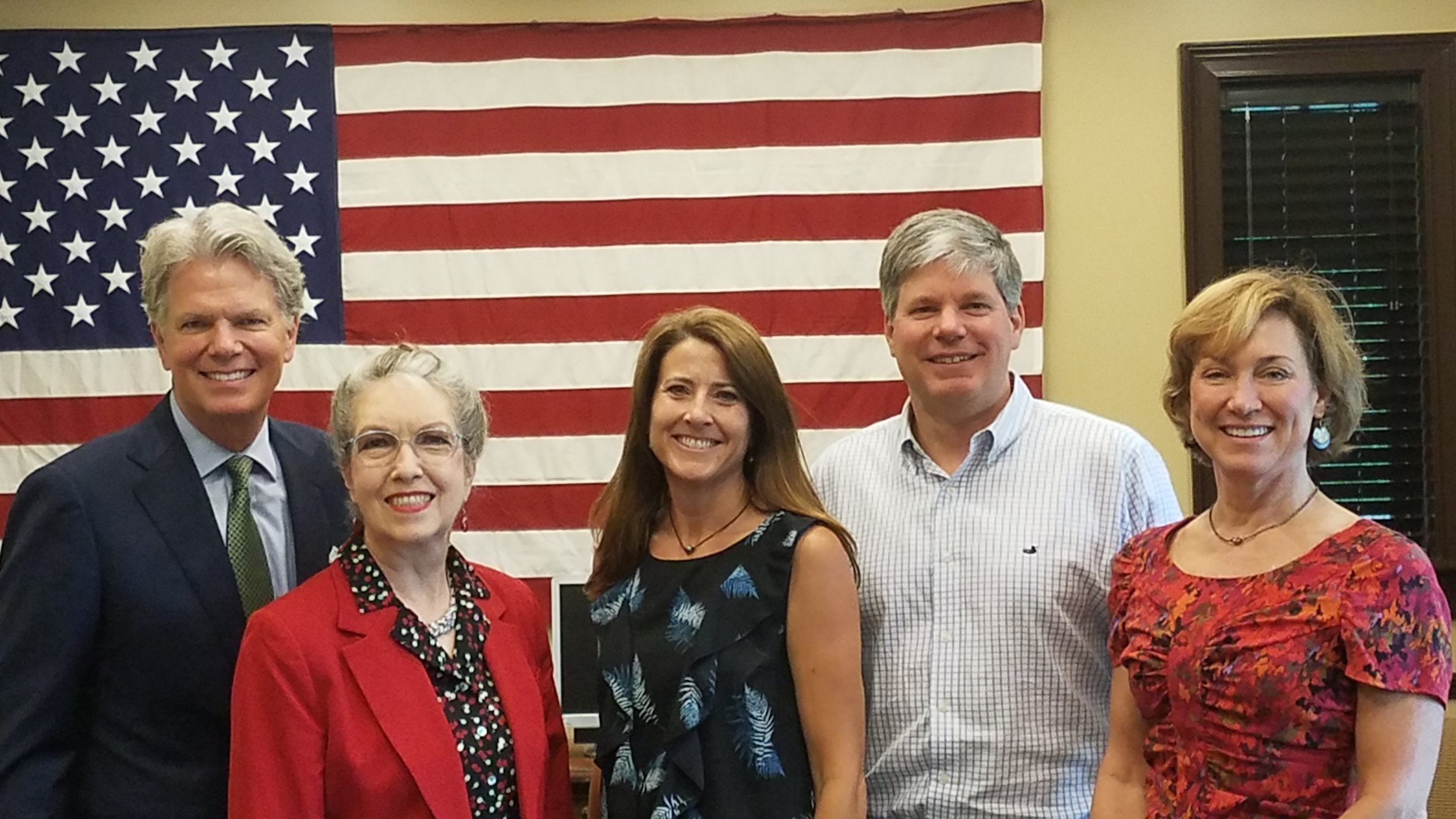 (Left to Right) Mountain Brook Mayor Stewart Welch, III, Birmingham City Councilor Valerie A. Abbott, Homewood City Councilor Jennifer Andress, State Representative David Faulkner and Mountain Brook City Councilor Virginia Caruthers Smith.