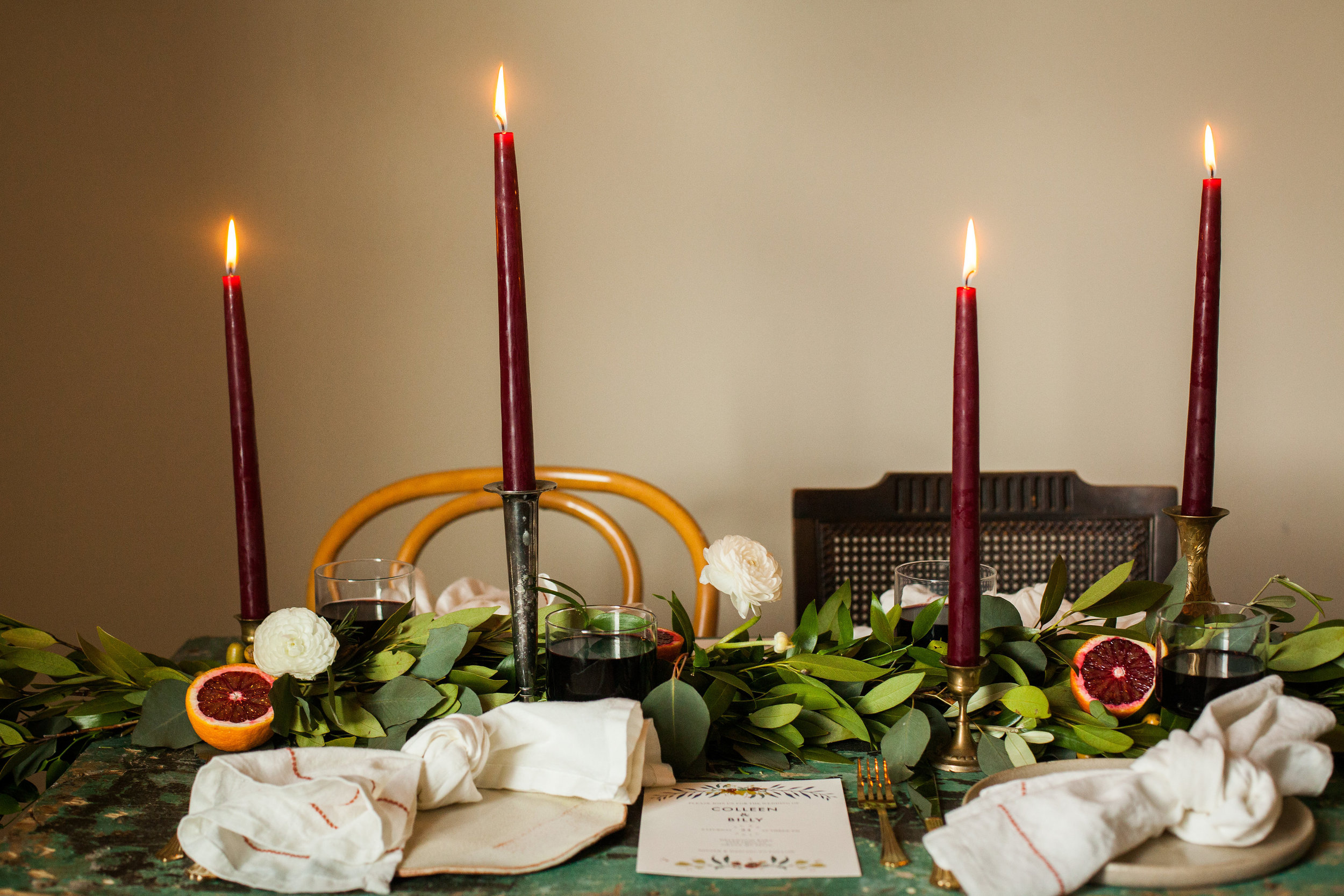 Romantic Blood Orange Tablescape