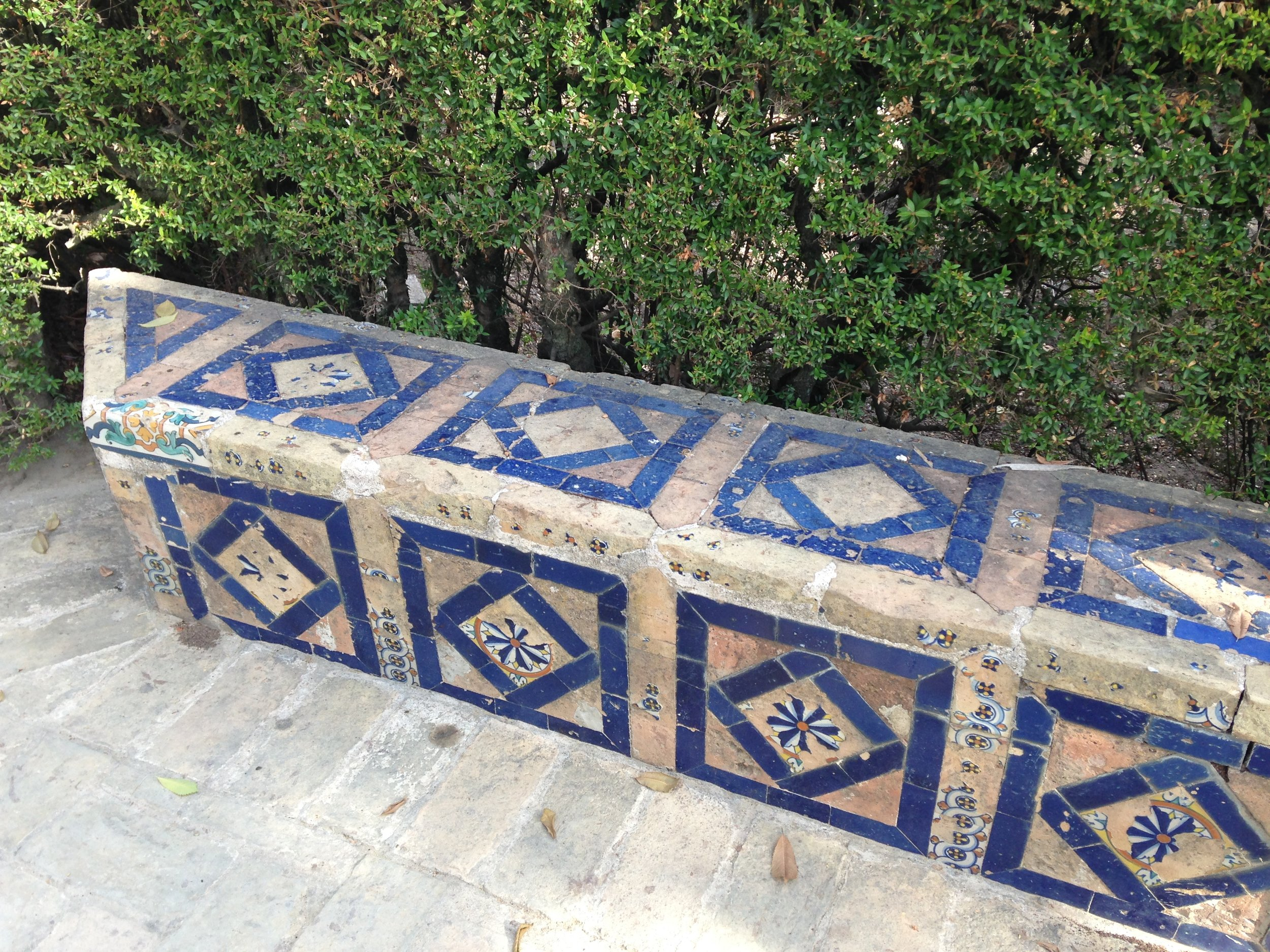 A bench with blue geometric designs, Royal Alcazar, Seville