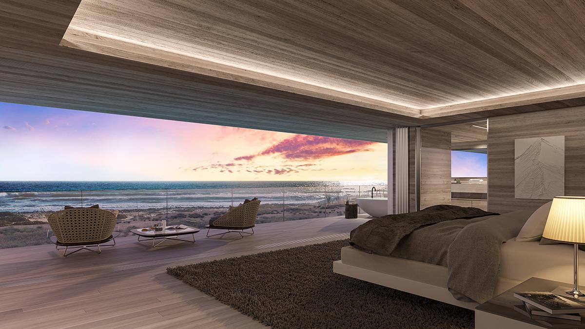 Malibu Broad Beach Home Bedroom Rendering