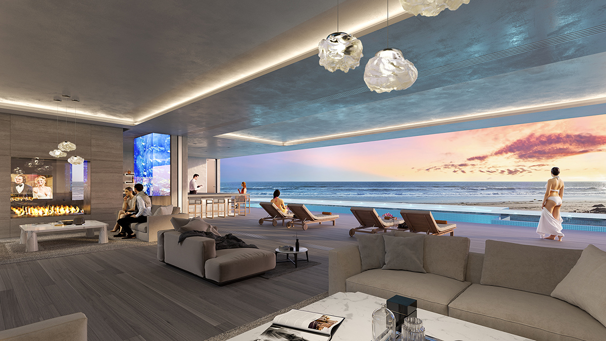 Malibu Broad Beach Home Living Room Rendering