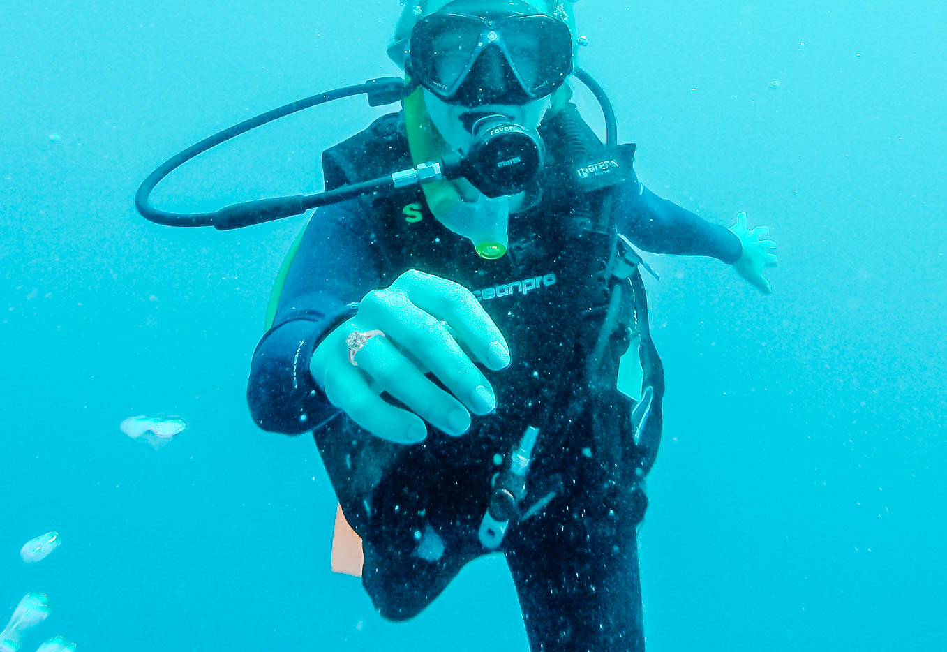 Diving the Great Barrier Reef in Hamilton Island, Australia, wearing  LLIVAN  travel jewelry