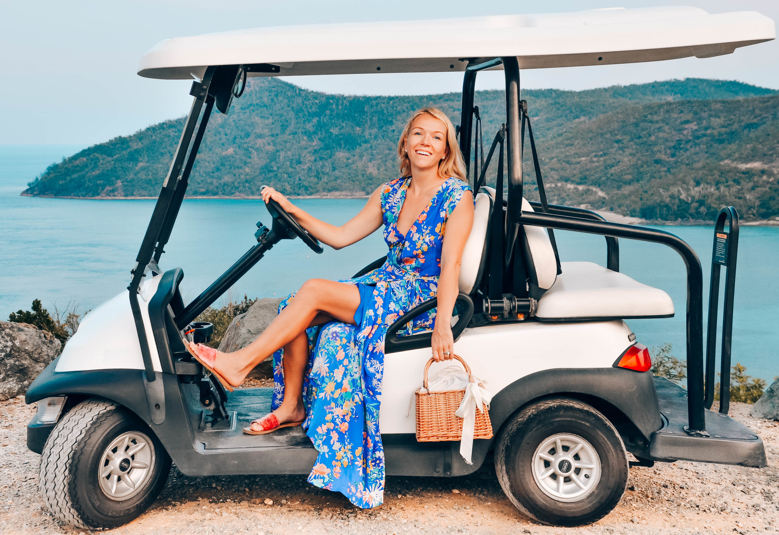 Gold carts for hire on Hamilton Island in Yumi Kim