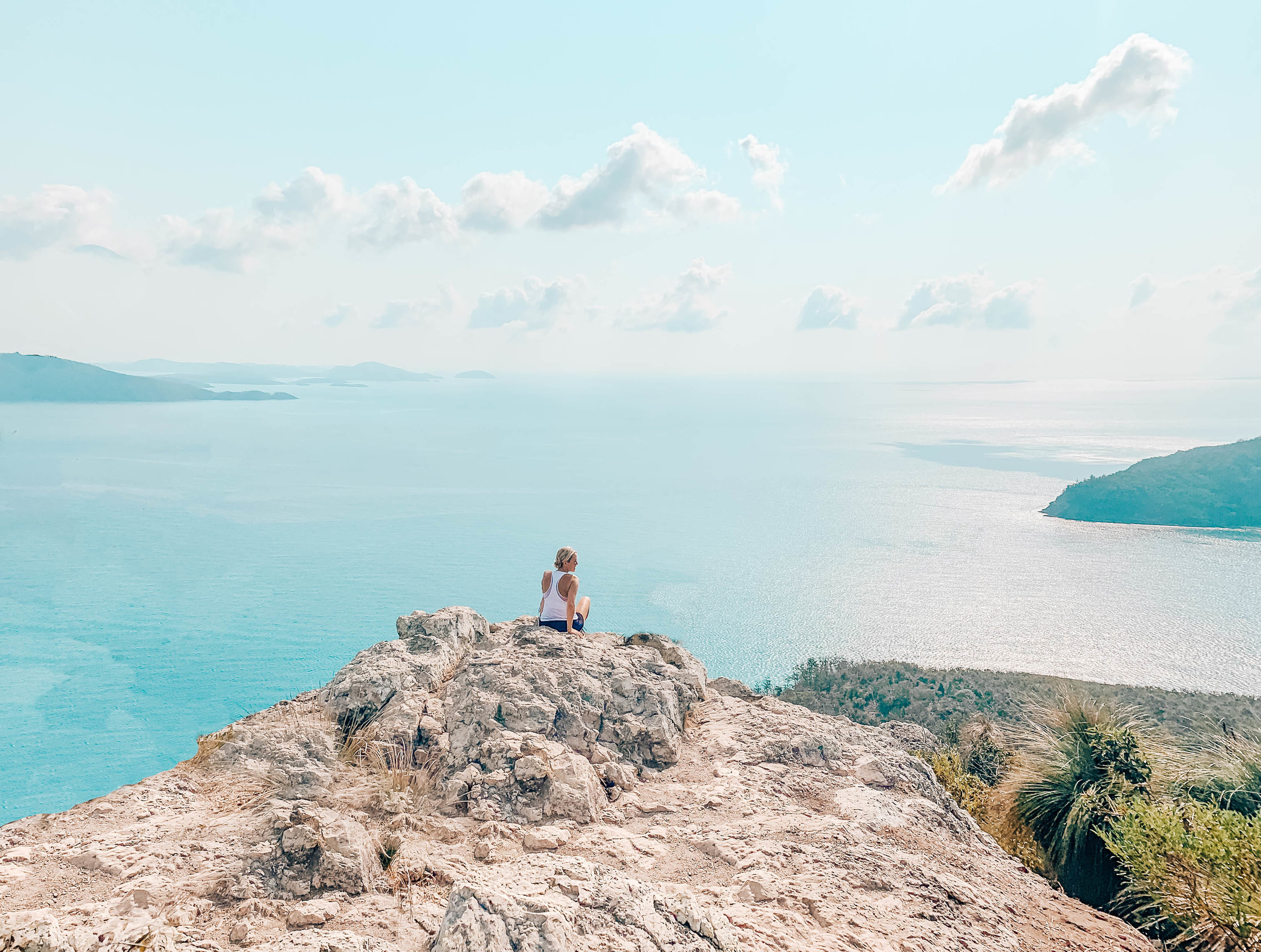 Hiking Passage Peak, the highest point in Hamilton Island