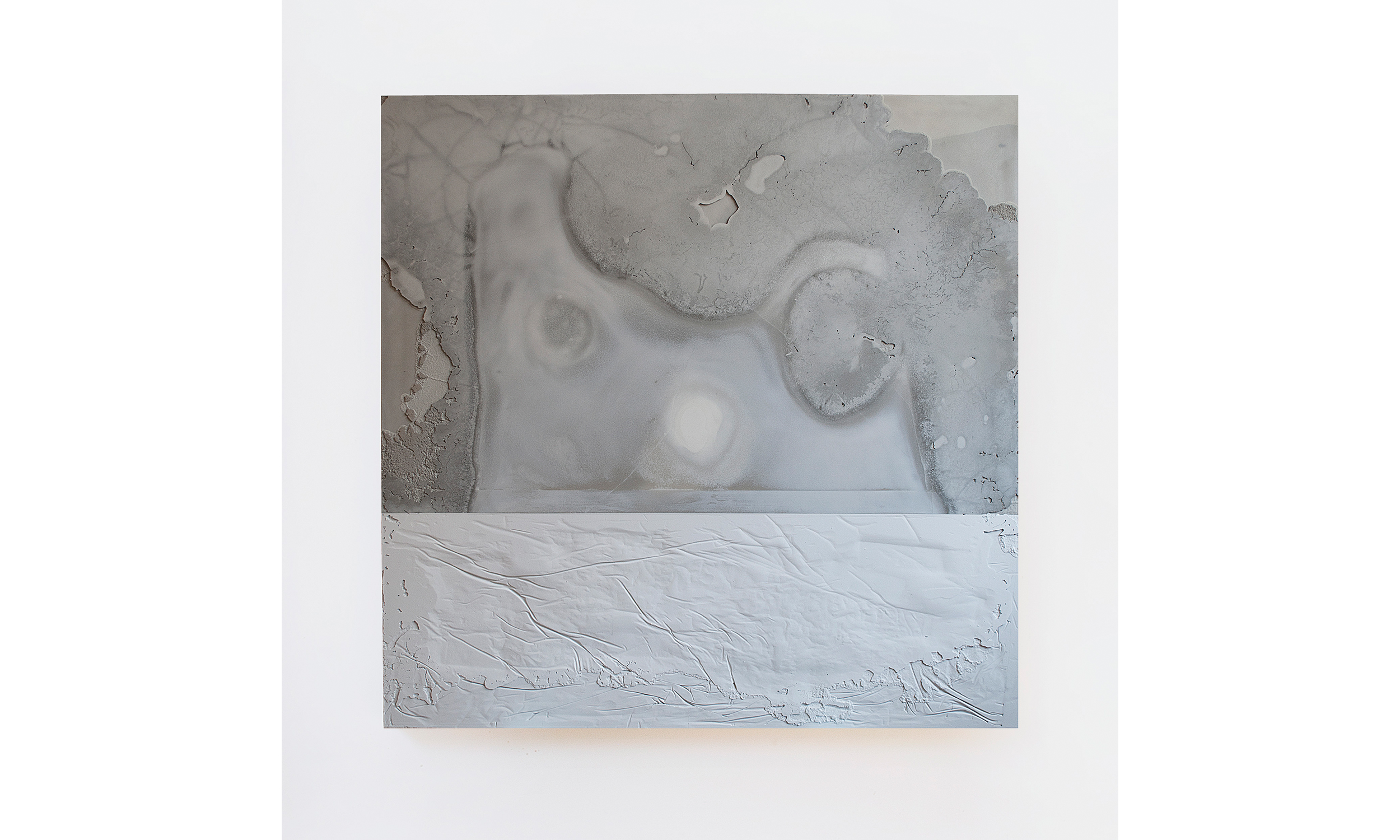 A Ghosting III  2014 Cast cement and paint 52.50h x 52.50w x 2.50d in