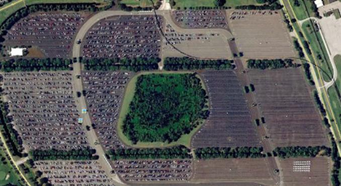With an increase in the number of cars in a parking lot comes an increase in the expected revenue of the retailer. Photo courtesy of  http://mrsoskil.wikispaces.com/Disney+TTC+Satellite+Photos