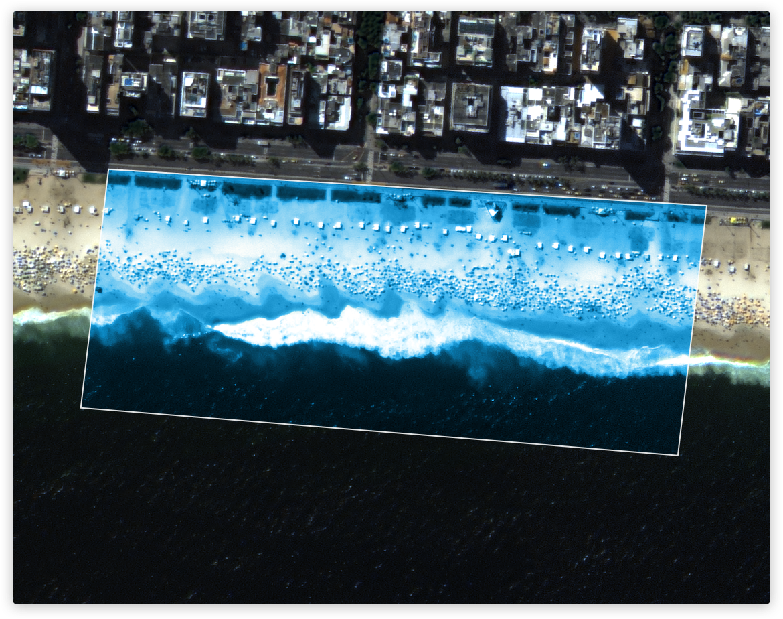 A beach: 0.1 square kilometre