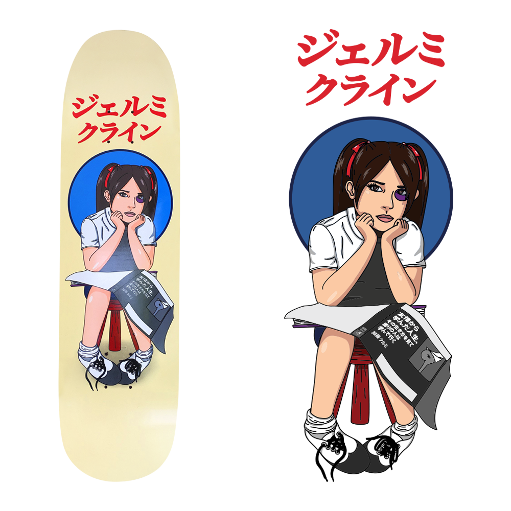 black eye girl skateboard design for jk industries