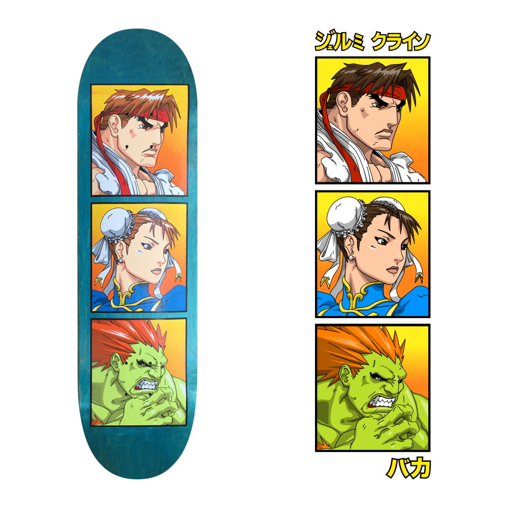 sf2 skateboard design for jk industries x baka