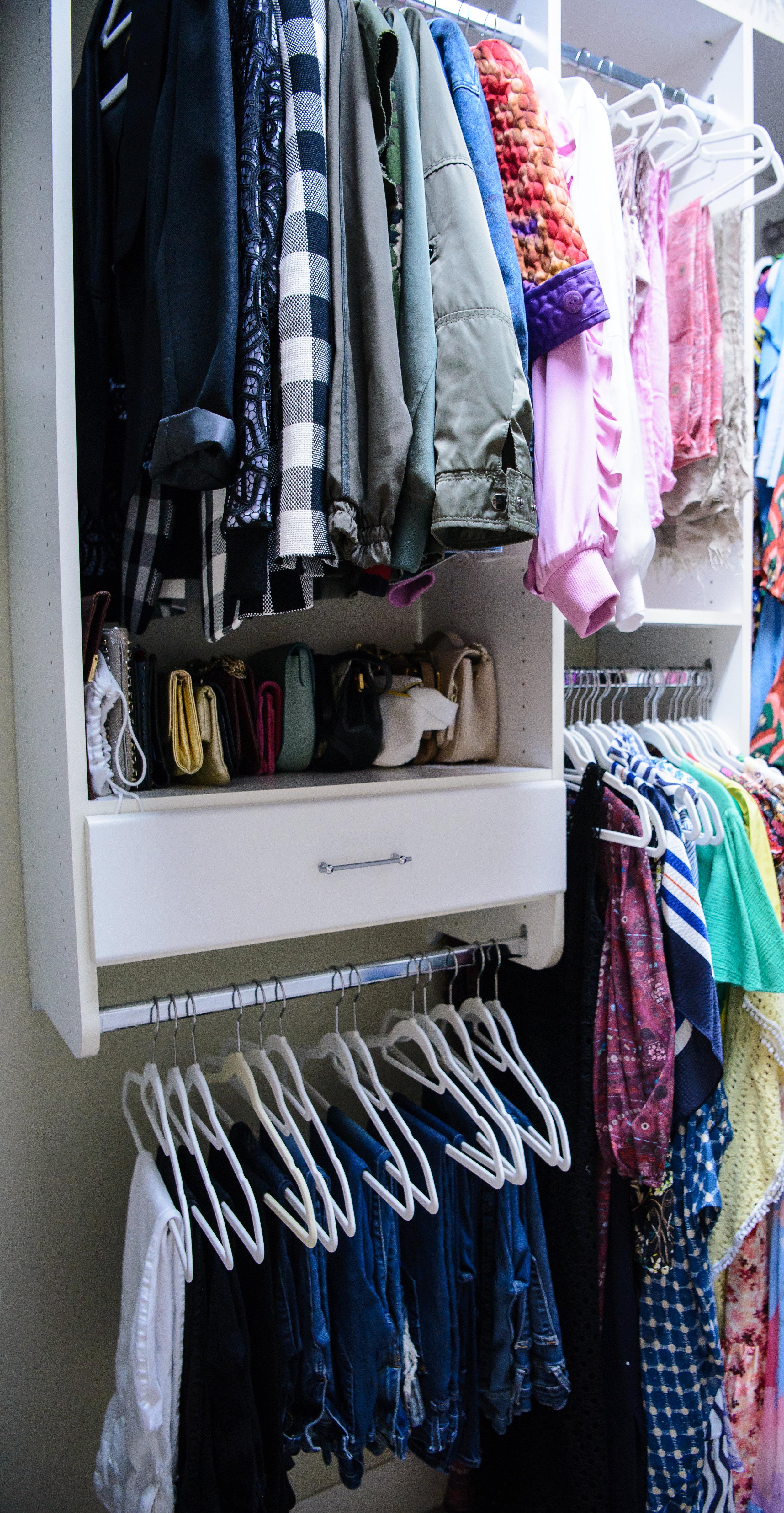 blue pencil home, clutches, closet