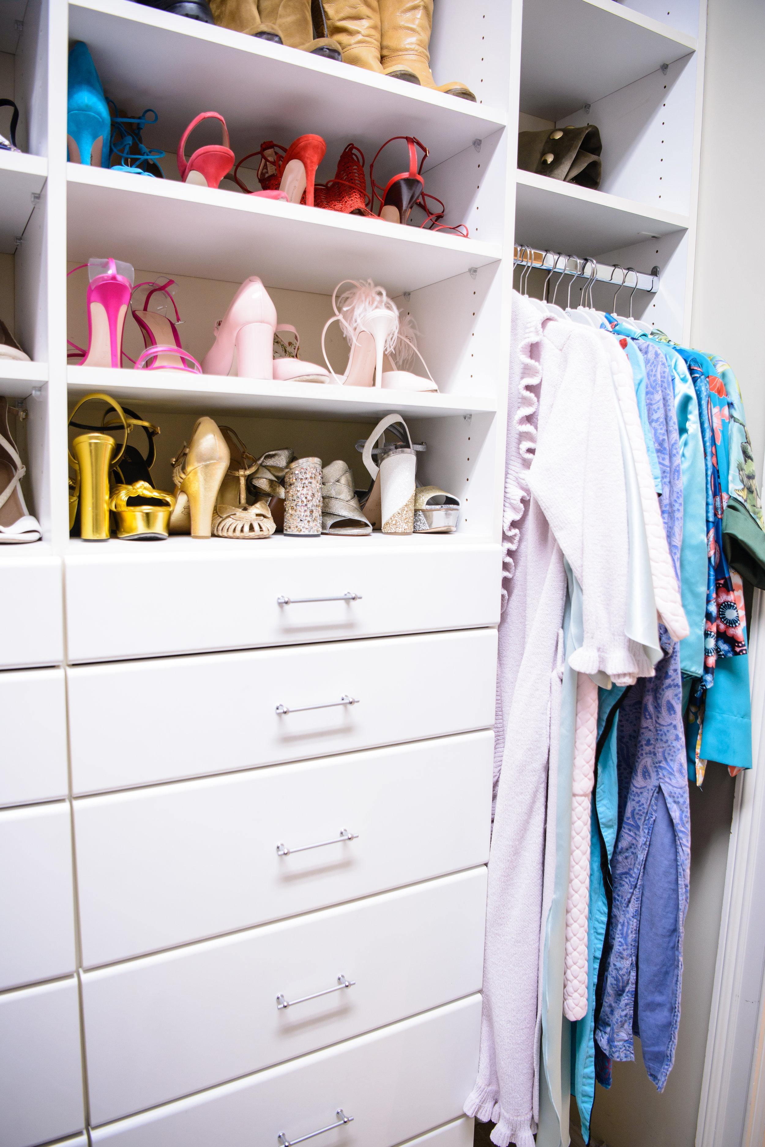 blue pencil home, closet, dresses