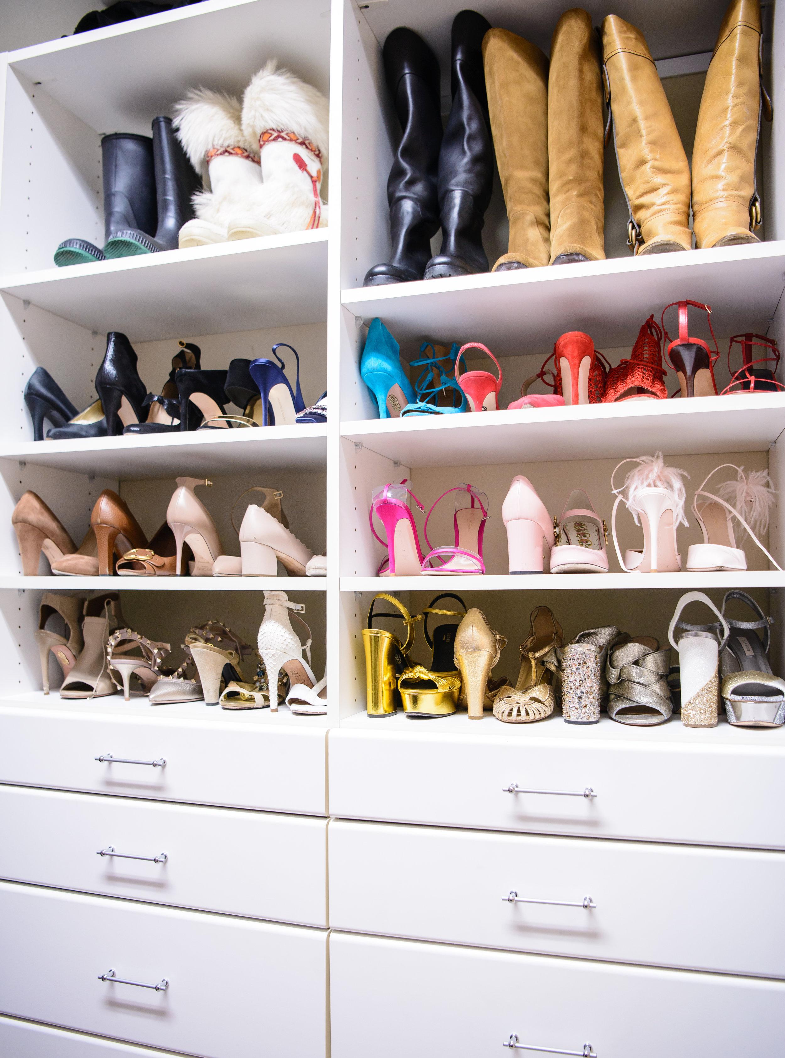 blue pencil home, shoes, closet
