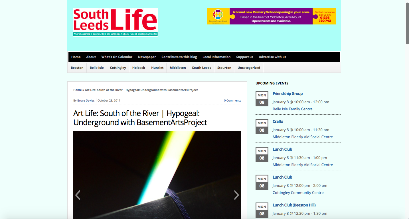 South Leeds Life - http://www.southleedslife.com/art-life-south-river-hypogeal-underground-basementartsproject/