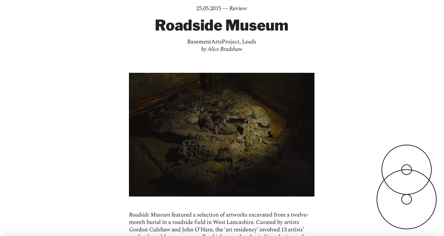 Corridor 8 - http://corridor8.co.uk/article/review-roadside-museum-basementartsproject-leeds/