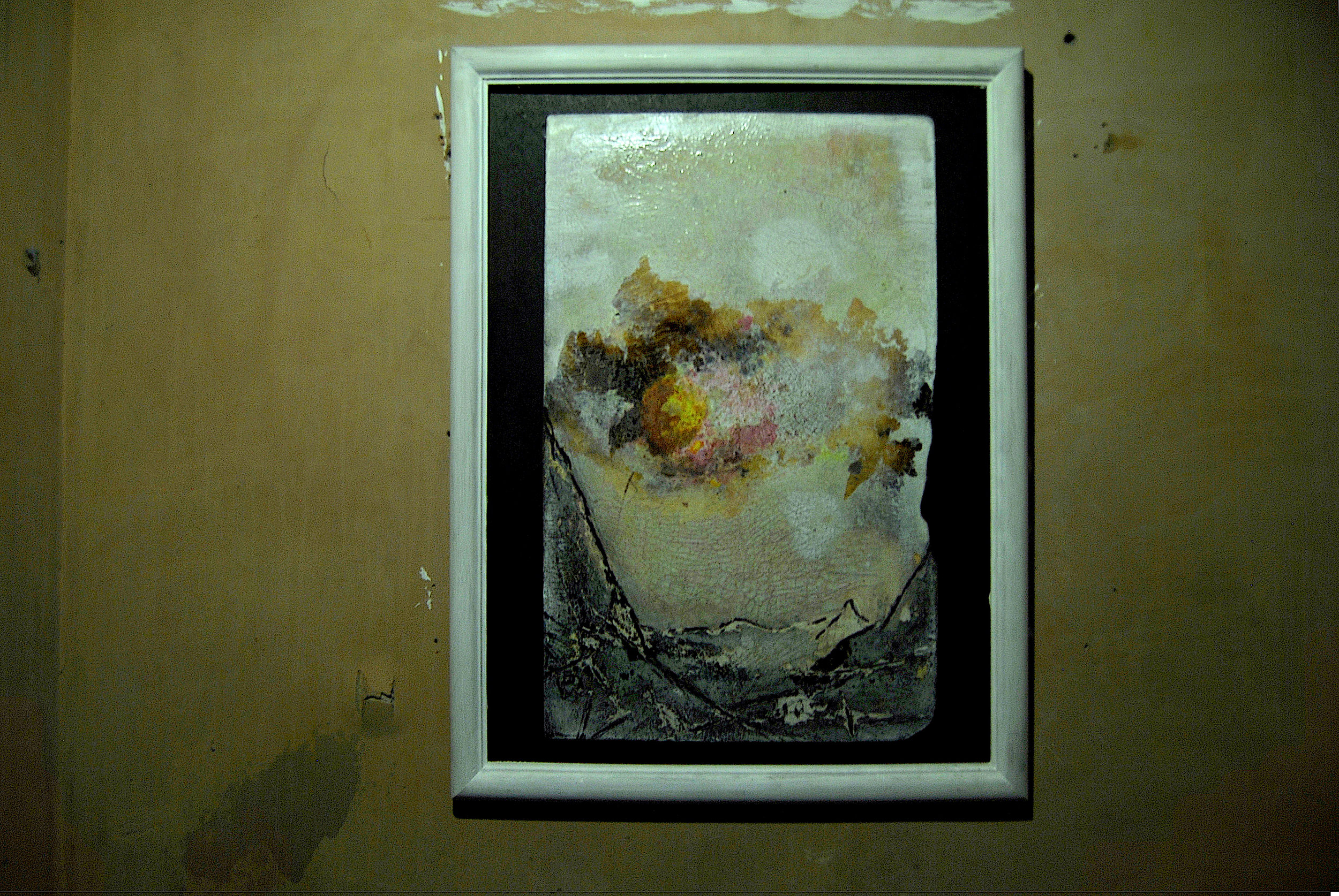 Winter Sky (2011 - 2012) Found board, mixed media with burning etching and scrubbing
